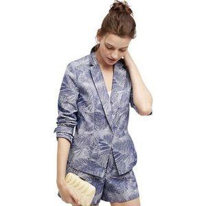 Anthro Cartonnier Blue Palm Leaf Blazer Jacket